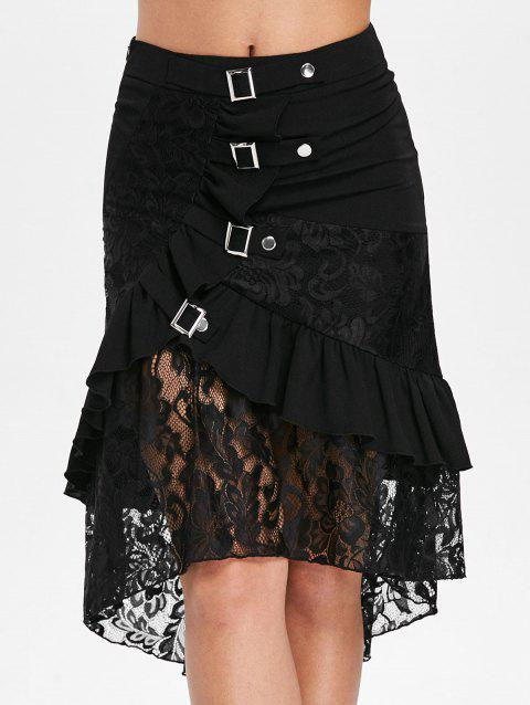 Flounce Lace Hem Midi Skirt - BLACK M
