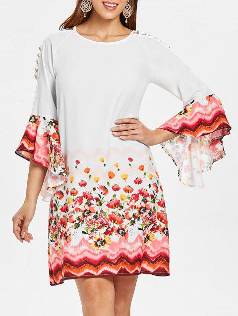 Bell Sleeve Cut Out Floral Dress - MILK WHITE L