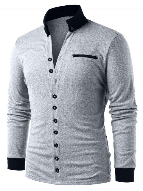Contrasting Button Up Cardigan - GRAY M