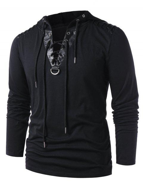 100af042a75 41% OFF  2019 Drawstring Lace Up Hoodie In BLACK