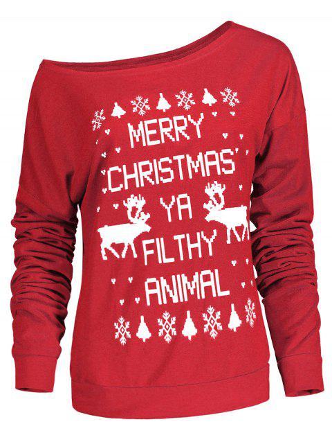 Stylish Letter and Snowflake Print Pullover Christmas Sweatshirt For Women - RED L