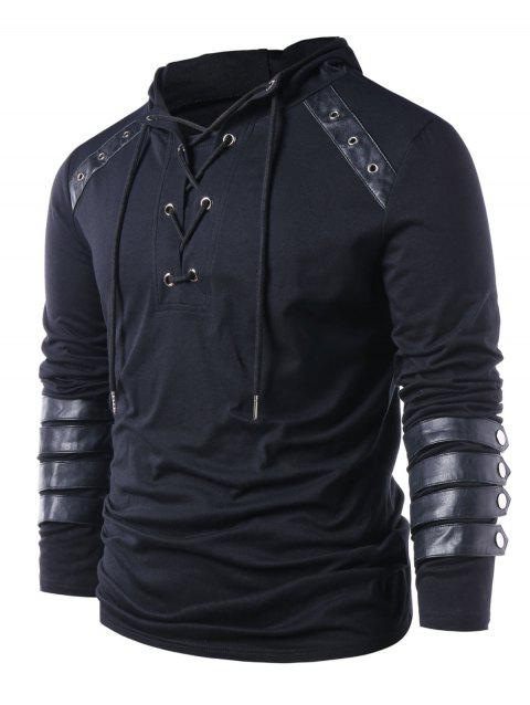 Lace Up Drawstring Hoodie - BLACK 4XL