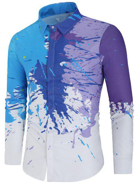 Paint Splatter Hidden Button Slim Fit Shirt - WHITE L