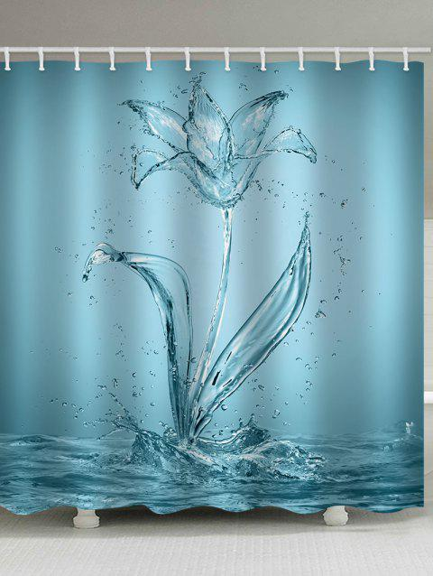 Water Flower Print Waterproof Shower Curtain - CORAL BLUE W71 INCH * L71 INCH