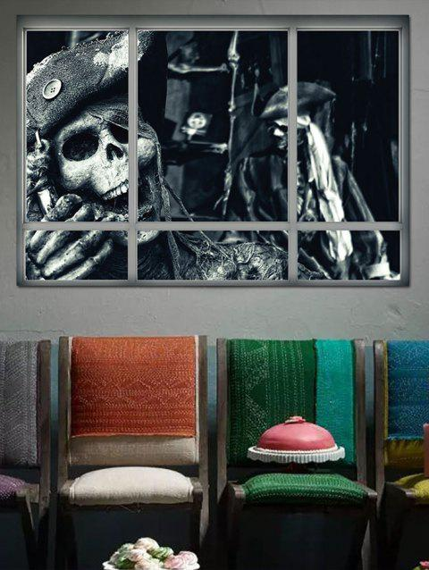 Pirate Skull Window Printed Removable Wall Sticker - multicolor
