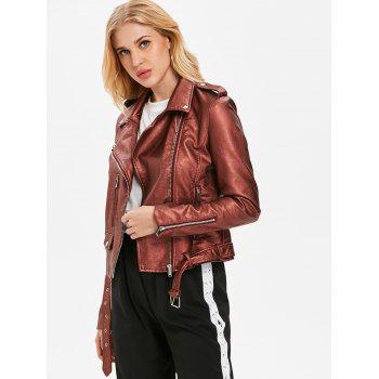 Faux Leather Oblique Zipper Biker Jacket - RED WINE L