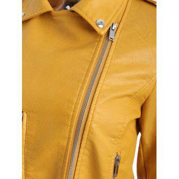 Faux Leather Oblique Zipper Biker Jacket - BRIGHT YELLOW L