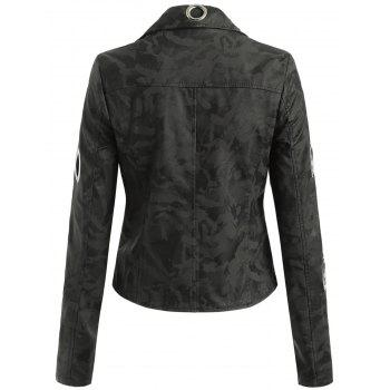 Camo Hollow Out Ring Motorcycle Jacket - ACU CAMOUFLAGE L