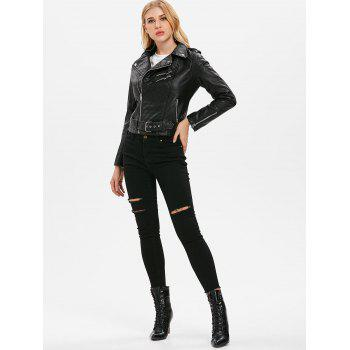 Faux Leather Oblique Zipper Jacket - BLACK M