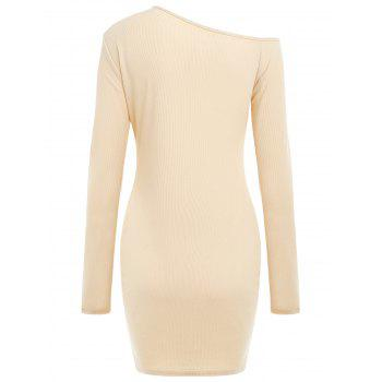 Long Sleeve Ribbed Bodycon Dress - APRICOT M