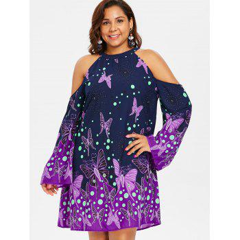 Plus Size Knee Length Butterfly Pattern Dress - MIDNIGHT BLUE L