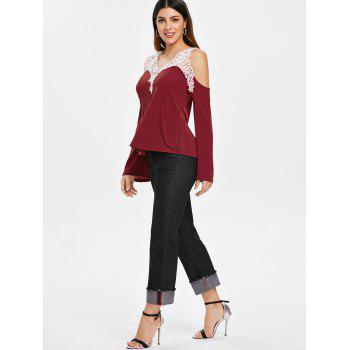 Cold Shoulder Color Block Lace Splicing T-Shirt - RED S