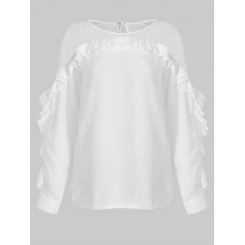 Lace Panel Ruffles Trim Long Sleeve Blouse - MILK WHITE L