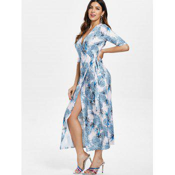 Pineapple Printed Long Wrap Dress - multicolor M