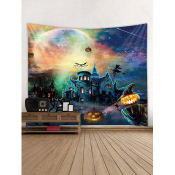 Halloween Pumpkin Castle Witch Tapestry Wall Decoration - multicolor W79 INCH * L59 INCH