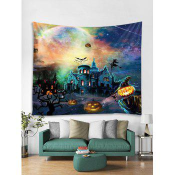 Halloween Pumpkin Castle Witch Tapestry Wall Decoration - multicolor W59 INCH * L59 INCH