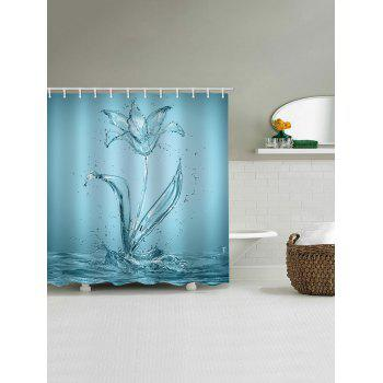 Water Flower Print Waterproof Shower Curtain - CORAL BLUE W65 INCH * L71 INCH