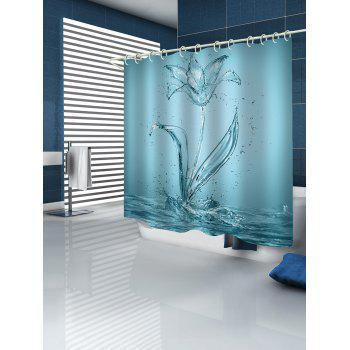 Water Flower Print Waterproof Shower Curtain - CORAL BLUE W71 INCH * L79 INCH