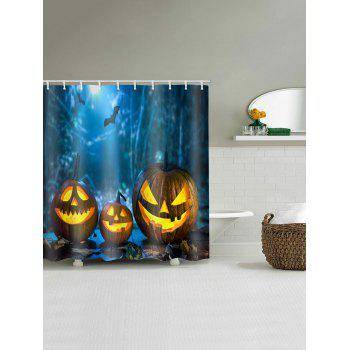 Halloween Pumpkin Print Waterproof Shower Curtain - multicolor W59 INCH * L71 INCH