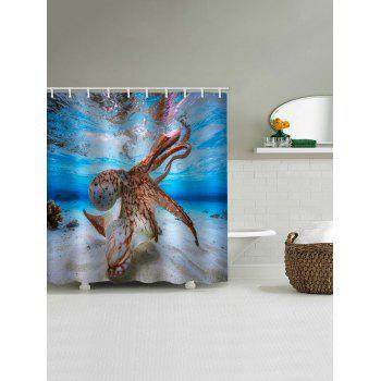 Sea Octopus Print Waterproof Shower Curtain - multicolor W59 INCH * L71 INCH