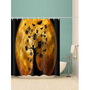 Moon Halloween Tree Print Waterproof Shower Curtain - ORANGE W59 INCH * L71 INCH