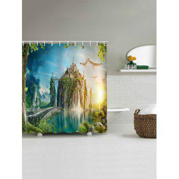 Mountain Top Castle Print Waterproof Shower Curtain - multicolor W71 INCH * L79 INCH
