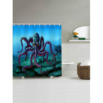 Octopus Print Waterproof Shower Curtain - multicolor W65 INCH * L71 INCH