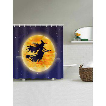 Halloween Moon Witch Print Waterproof Shower Curtain - multicolor W65 INCH * L71 INCH