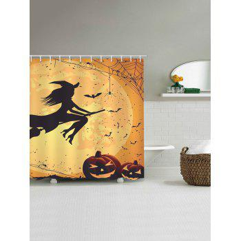 Halloween Witch Print Waterproof Shower Curtain - ORANGE W71 INCH * L71 INCH