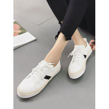 Round Toe Sewing Platform Sneakers - WHITE 38