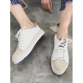 PU Leather Sewing Platform Sneakers - WHITE 36