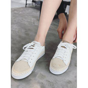 PU Leather Sewing Platform Sneakers - WHITE 39