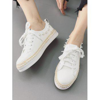 Casual Lace Up Sewing Platform Sneakers - WHITE 36