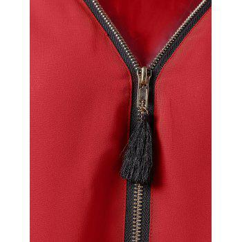 Half Zip Roll Up Sleeves Blouse - RED L