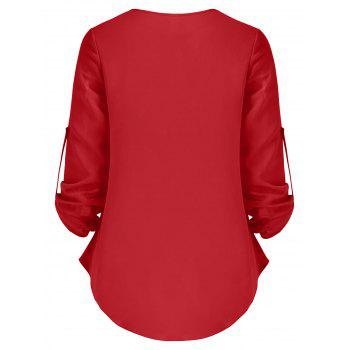 Half Zip Roll Up Sleeves Blouse - RED 2XL