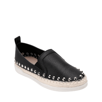 PU Leather Round Toe Loafers Sneakers - BLACK 38