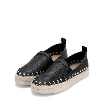 PU Leather Round Toe Loafers Sneakers - BLACK 36