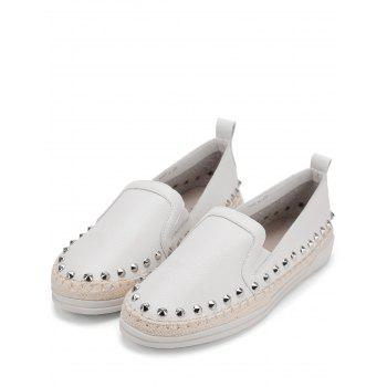 PU Leather Round Toe Loafers Sneakers - WHITE 36