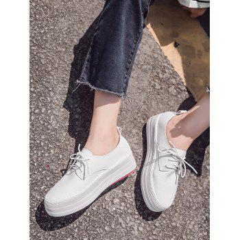 Low Top Thick Sole Loafers Sneakers - WHITE 35