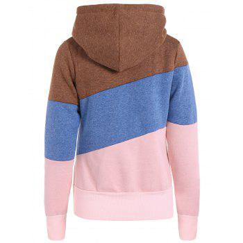 Casual Color Block Long Sleeves Women's Hoodie - BLUE L