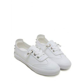 Round Toe Low Top Loafers Sneakers - WHITE 37