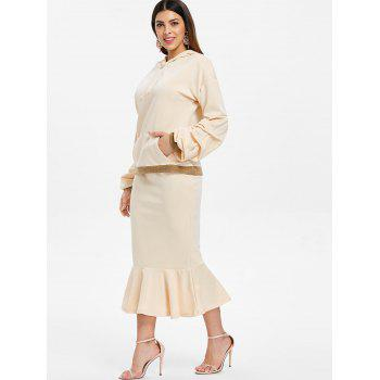 Drawstring Hoodie and Ruffle Mid Calf Skirt - APRICOT L