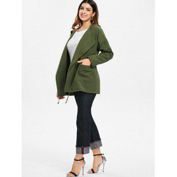 Hooded Drawstring Open Front Coat - ARMY GREEN M