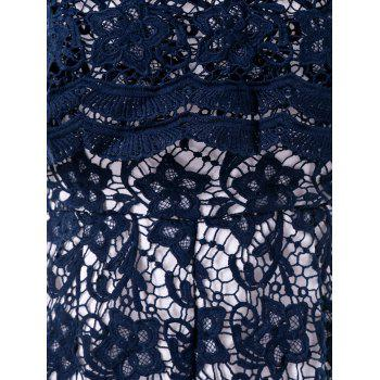 Bare Shoulder Falbala Crochet Lace Romper - DEEP BLUE 2XL