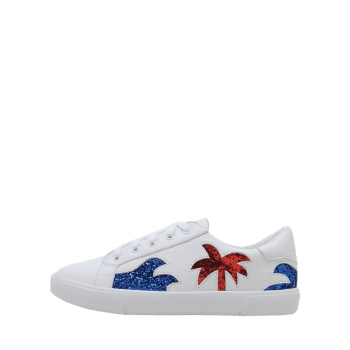 Sequined Tree Low Top Loafers Sneakers - WHITE 38