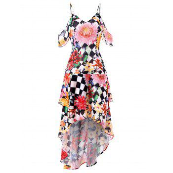 Floral Checked Shoulder Cut Maxi Dress - multicolor M