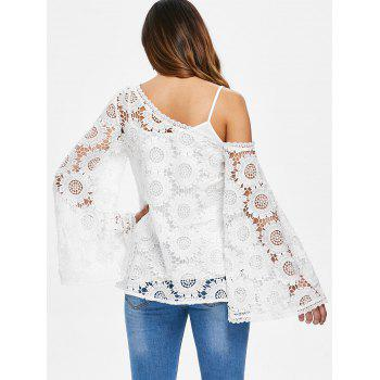 Asymmetrical Flare Sleeve Openwork Crocheted Blouse - WHITE L