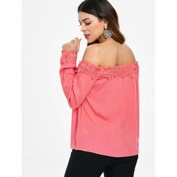 Crocheted Panel Off Shoulder Long Sleeve Blouse - VALENTINE RED XL
