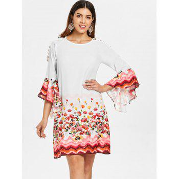 Bell Sleeve Cut Out Floral Dress - MILK WHITE S