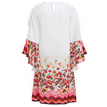 Bell Sleeve Cut Out Floral Dress - MILK WHITE XL